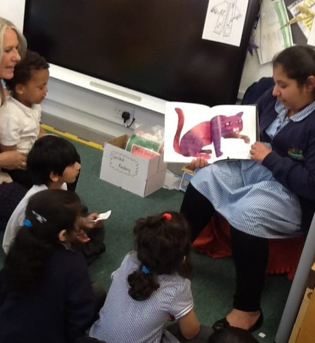 Year 6 reading to nursery